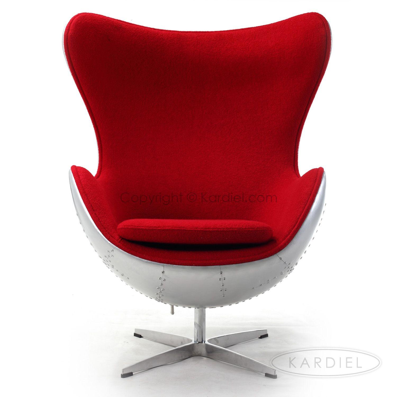Steampunk 1958 Egg Chair, Cherry Red Bouclé Cashmere Wool
