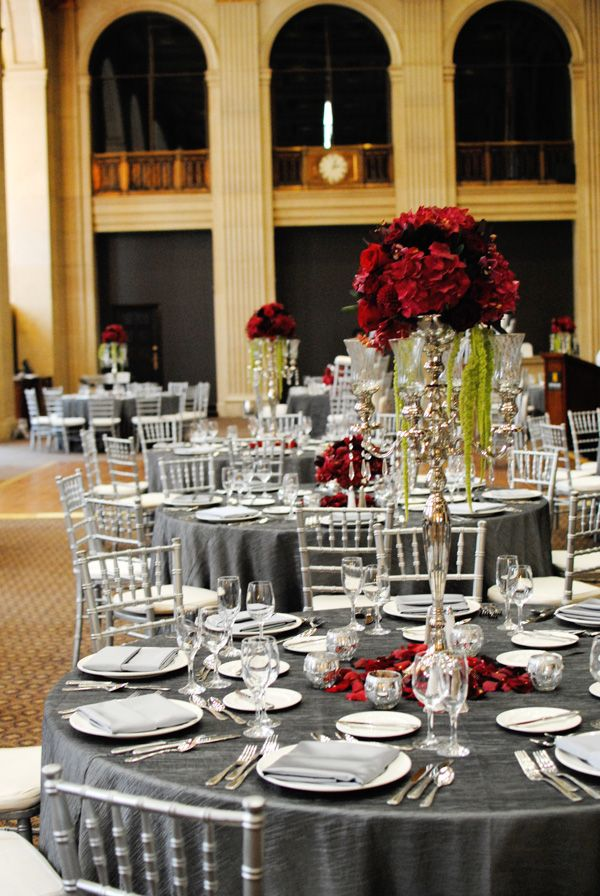 Reception In Gray Coral Colored Flowers Wedding