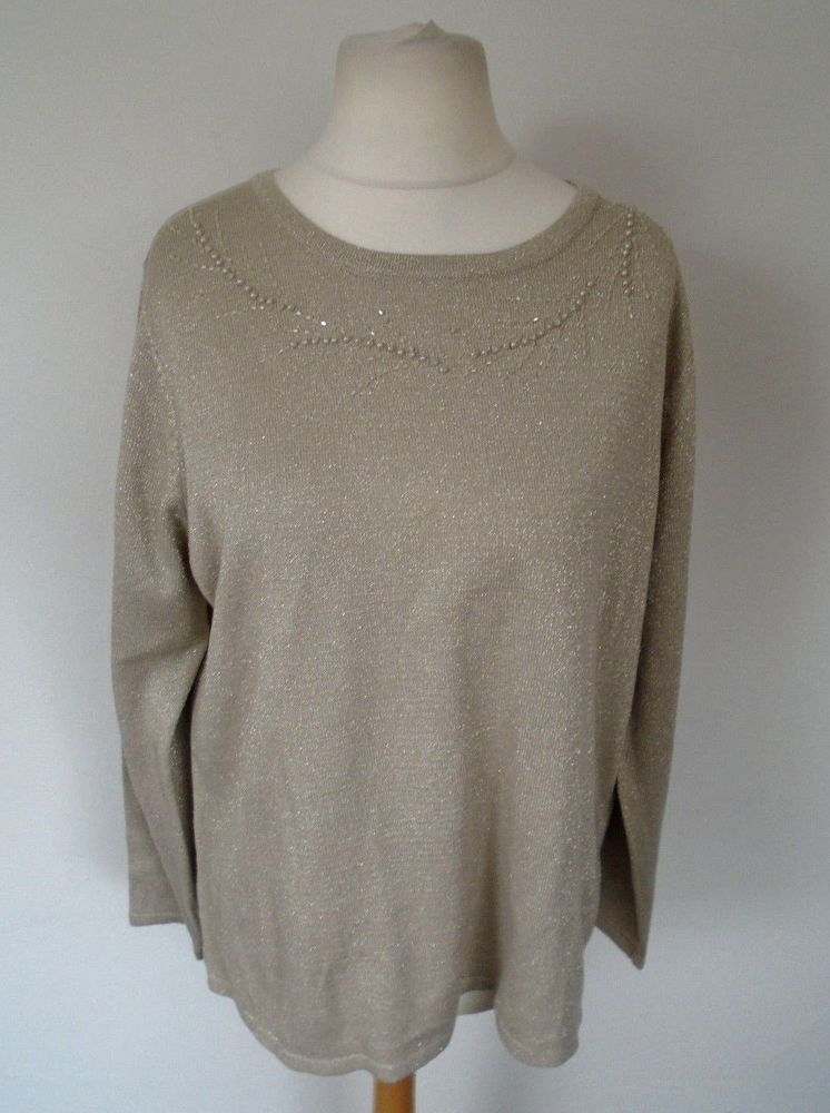 f349018d586 Bonmarche Gold Sparkly Beaded Top Plus Size L UK 20 Cruise Party Evening   fashion  clothing  shoes  accessories  womensclothing  tops (ebay link)