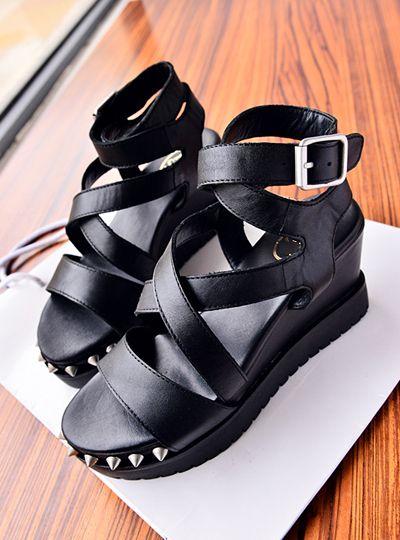 2014 new sapatos femininos sandalias femininas sale seconds kill medium(b,m) adhesive women sandals fashion normic metal wedges