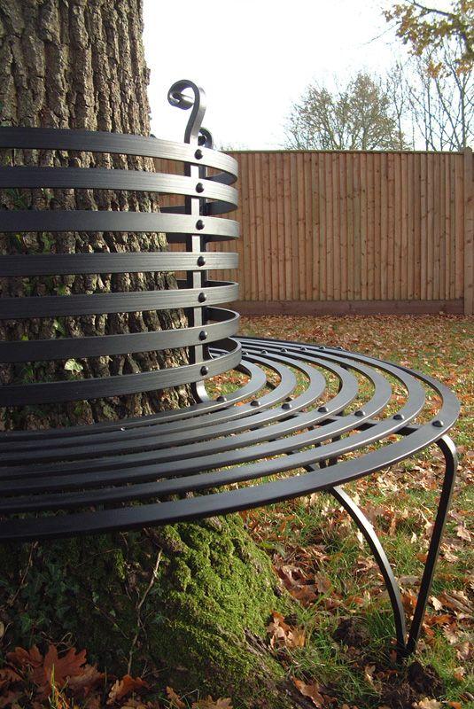 Riveted Ironwork Tree Seat Banco Alrededor De Arboles Bancas