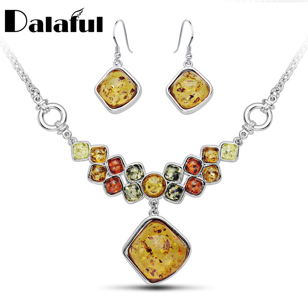 Flossy multicolor baltic simulated synthetic honey pendant necklaces
