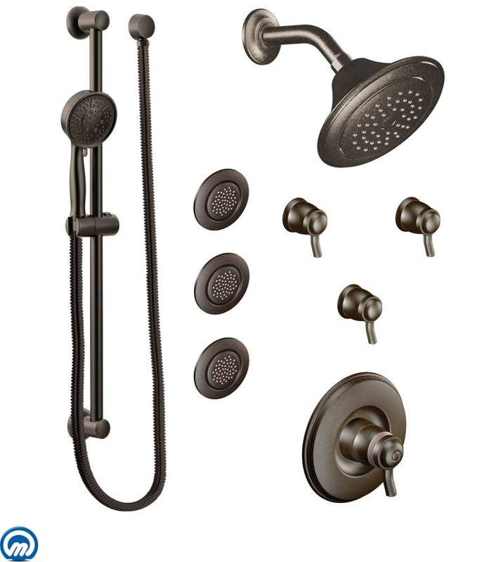 Thermostatic Shower System With Shower Head 3 Volume Controls 3 Body Sprays And Hand Shower From The Rothbury Collection V Shower Systems Shower Heads Moen Shower systems with body jets