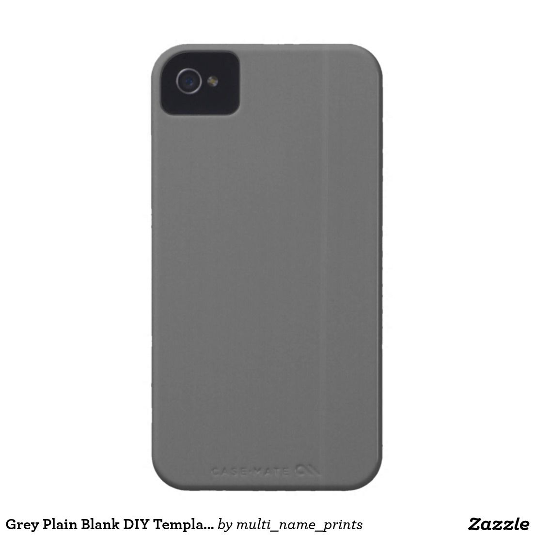 Grey Plain Blank DIY Template add text quote photo iPhone 4 Cover ...