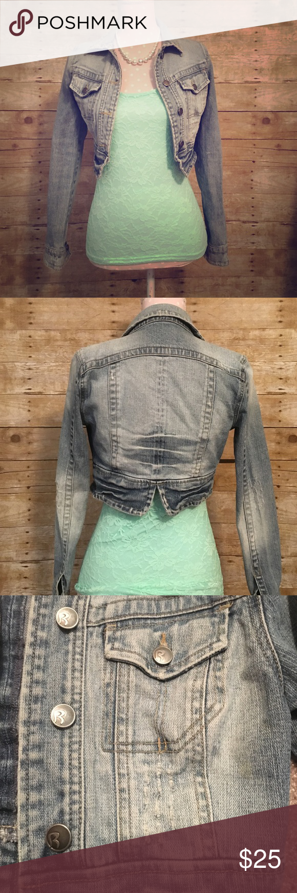 "Distressed denim jacket Acid wash, distressed, cropped denim jacket. Size Xs fits true to size. Measures approx. 14"" long & 16 wide when laying flat. 99% cotton 1% spandex so it has a little bit of stretch. Rubbish Jackets & Coats Jean Jackets"