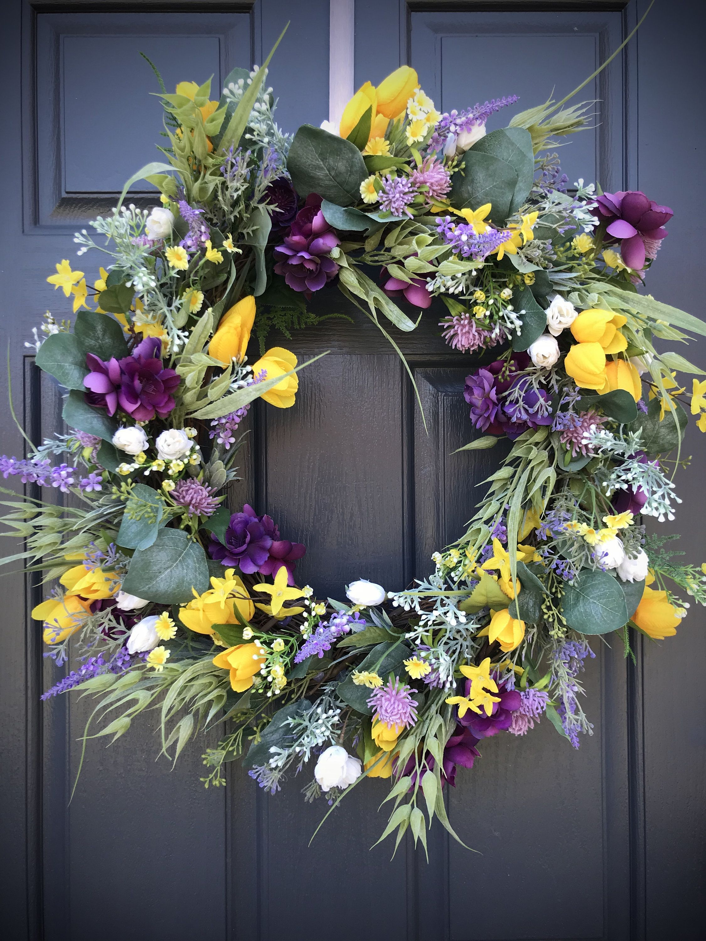 Photo of Spring wreath Spring door wreaths Purple Yellow White Tulips Door decor Spring Mother's Day Easter Gift ideas Housewarming gift Spring decor