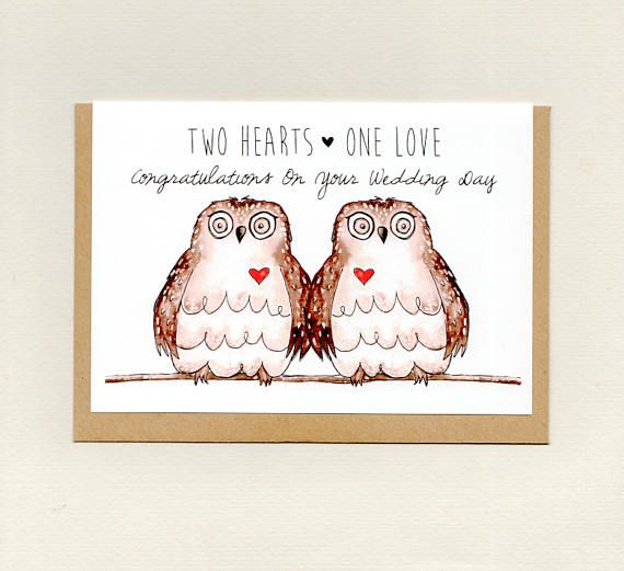 2 HEARTS 1 LOVE Owl Greeting Card Wedding Anniversary Valentines CUSTOMISE With Couples Names Australia Custom