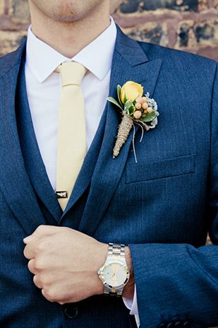d210a9259863a Navy suit and yellow tie | Obviously I want a brighter yellow tie. Now I am  trying to decide- boutonniere or something in the pocket?
