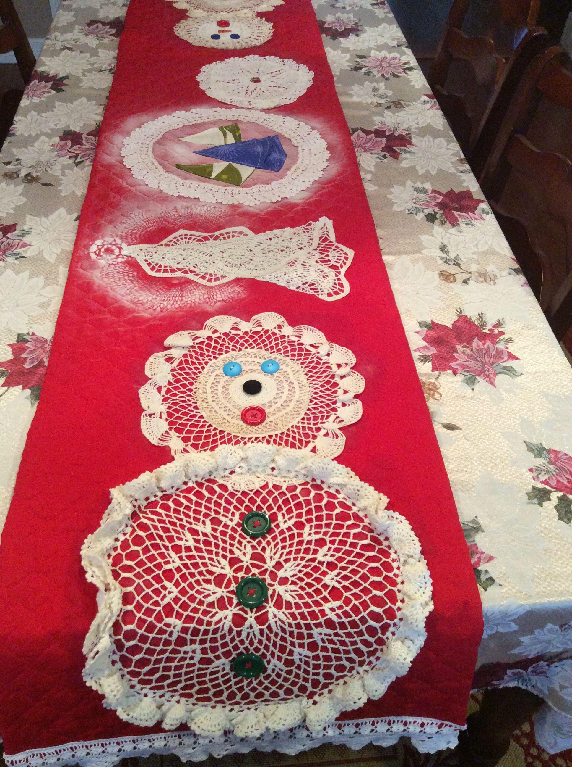 Repurposing doilies to make a Christmas table runner.