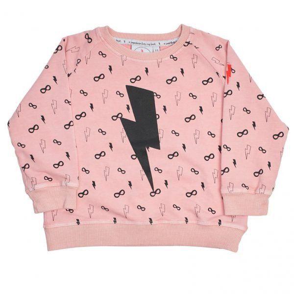 Cool Kid Sweatshirt - Lightening Bolt Peach