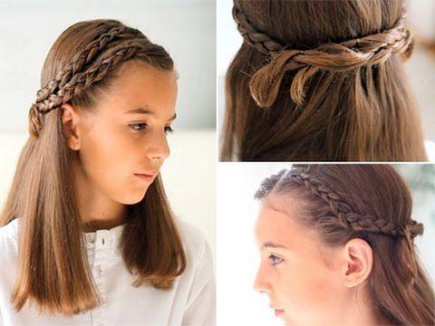Peinado con trenzas para ni as youtube peinados - Peinados de fiesta media melena ...