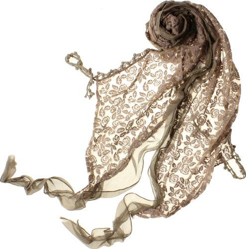 AN1225 Fashion Lace Flower Scarf - Brown - One Size $9.45
