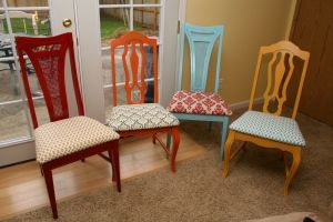Reupholstering chairs tutorial **idk these mismatched chairs are kind of cool**