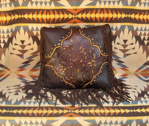 Western leather pillow home decor vintage by stargazermercantile, $425.00