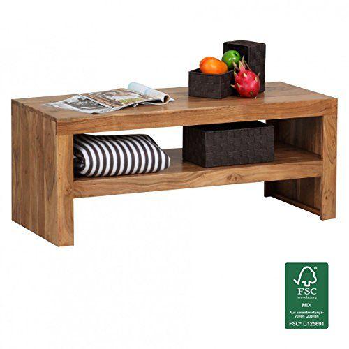FineBuy Couchtisch Massiv Holz Akazie 110 Cm Breit Wohnzimmer Tisch Design Dunkel Braun