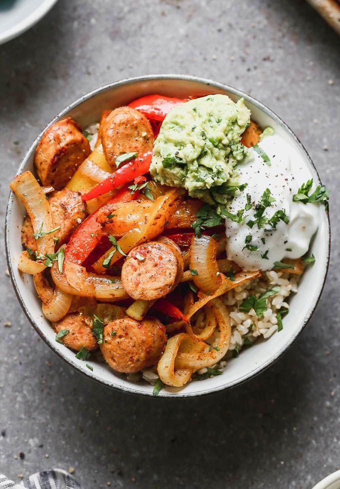 Sheet Pan Fajita Bowls with Chicken Sausage - Cooking for Keeps #healthyweeknightmeals