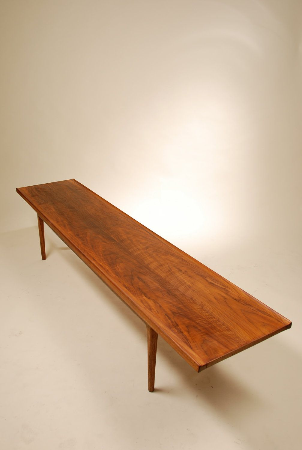Kipp Stewart; Walnut Bench Table for Drexel, 1950s.