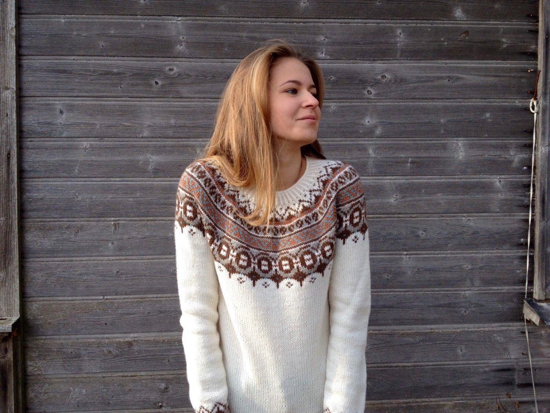Fair Isle sweater, White sweater, Merino wool sweater, Made to ...