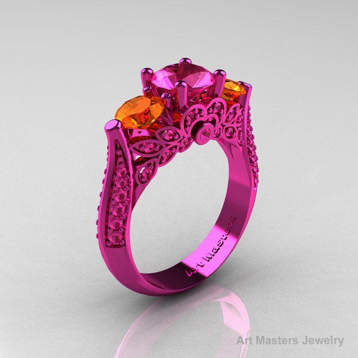 Classic 14K Pink Gold Three Stone Pink Orange by artmasters, $2,299.00