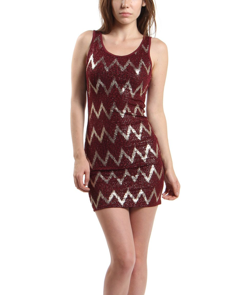 This KMC USA Burgundy & Silver Embossed Zigzag Bodycon Dress by KMC USA is perfect! #zulilyfinds