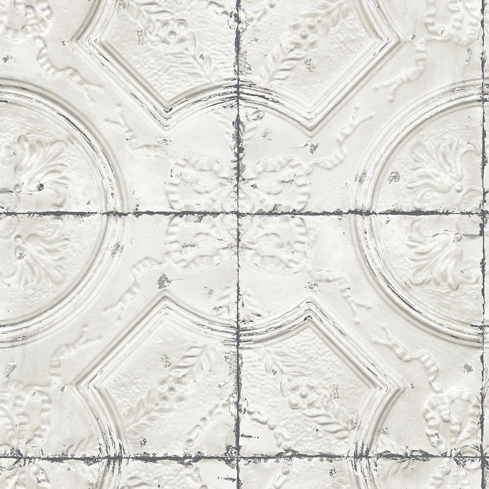Chesapeake Susanna Off White Vintage Tin Tile Off White Wallpaper Sample 3115 12431sam The Home Depot Vintage Tin Tiles Tin Tiles Tile Wallpaper