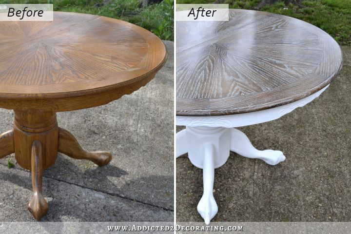 oak kitchen tables remodeling projects cerused dining table makeover finished painted house kristi i am doing this on old coffee so much more me than thanks