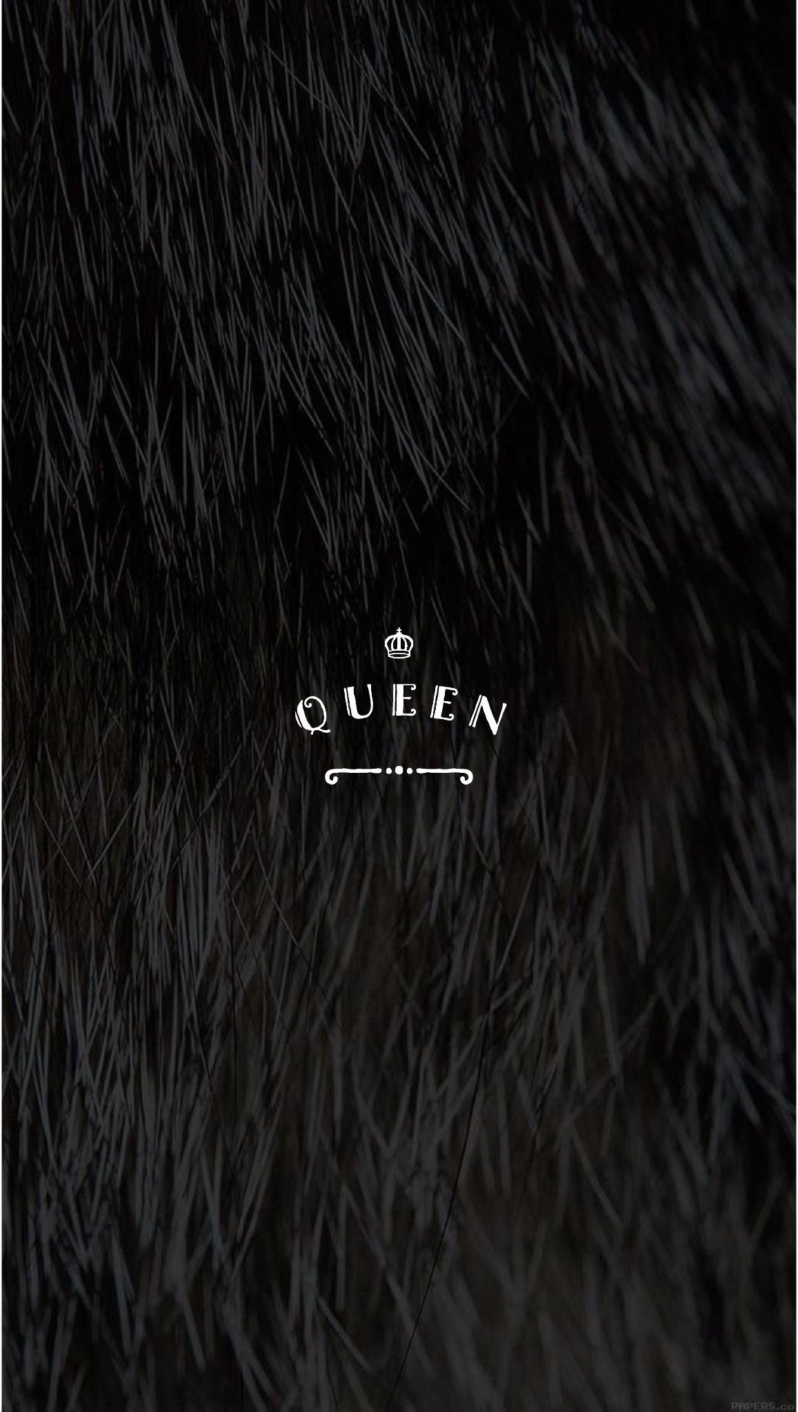 Black Faux Fur Pretty Positivity Queen Iphone Mobile Wallpaper By