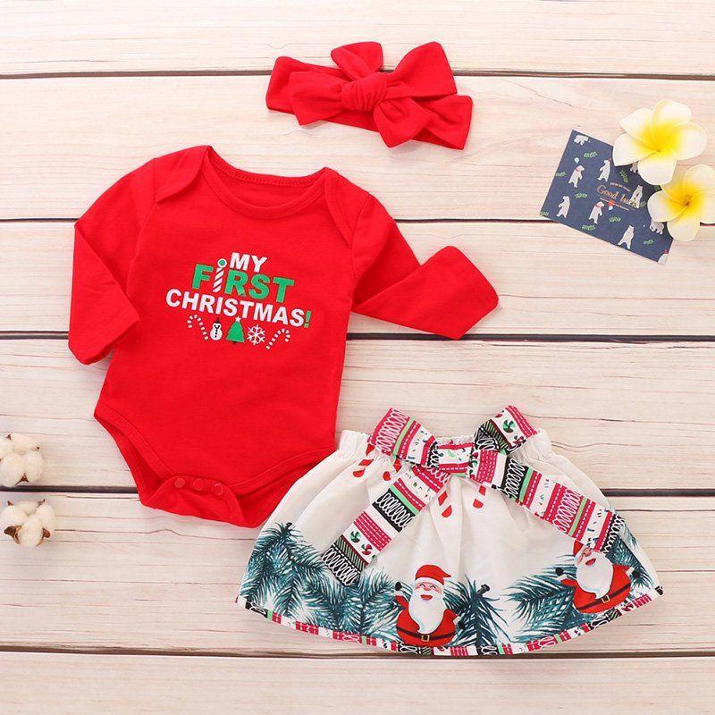 05d5c82358f  My First  Christmas  Newborn  Baby Girl  Long Sleeve  Cotton  Bodysuit   Tops+Santa  Skirt  Headbands  3PCS  Outfits  Xmas  clothing