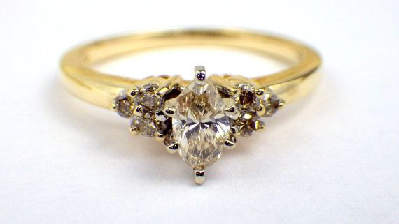 Vintage Diamond Engagement Ring,Marquise Cut,14k Yellow Gold Ring, Style170-3