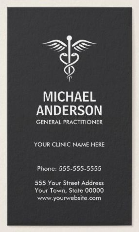 Medical business cards with caduceus symbol vertical elegant dark medical business cards with caduceus symbol elegant dark gray and white modern and minimal design ideal for a medical doctor gp registered nurse colourmoves Choice Image