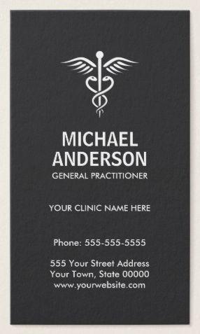 Medical Doctor General Practitioner Dark Gray Business Card Ideas
