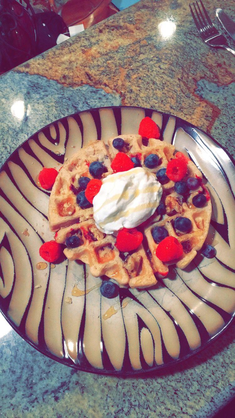 Protein Pancake mix; water; fresh fruit; Greek yogurt; crushed walnuts; drizzle of honey