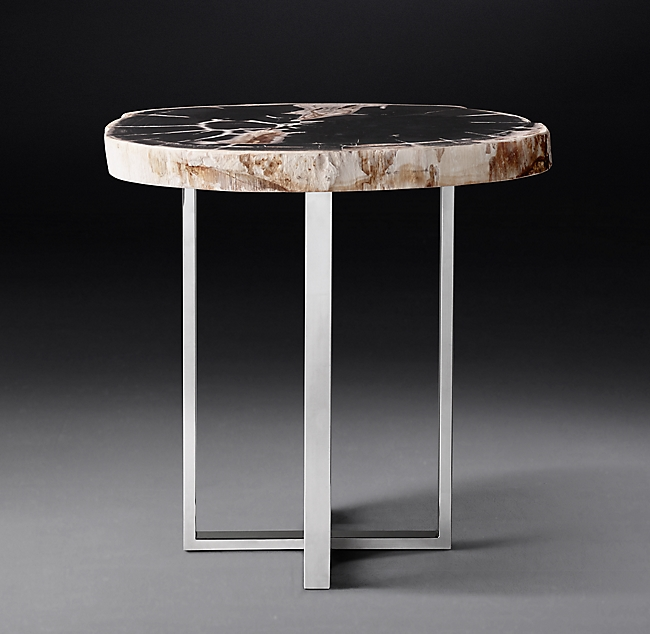 1970s Petrified Wood Slab Round Side Table In 2020 Round Side Table Wood Slab Round Glass Coffee Table