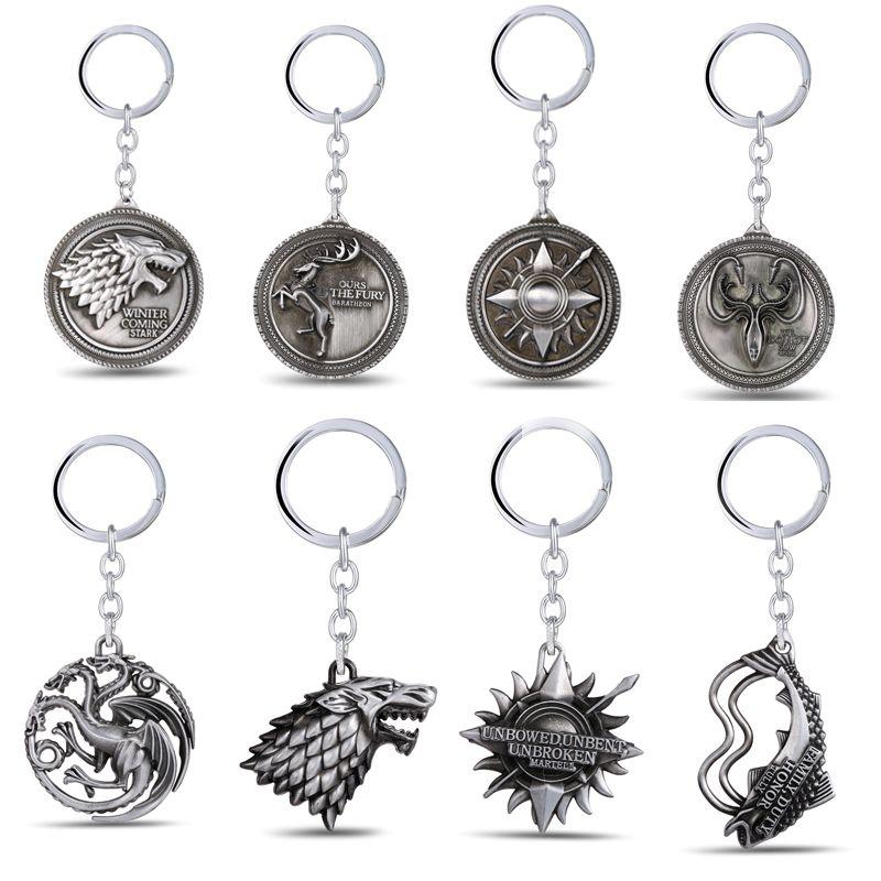 Game Of Thrones Keychain Anhänger Schlüsselanhänger Ring Für Männer Frauen Porte clef schlüsselhalter