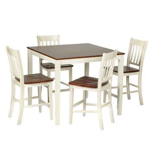 Two Tone Wood Gathering Table and Chairs Set 5 Piece