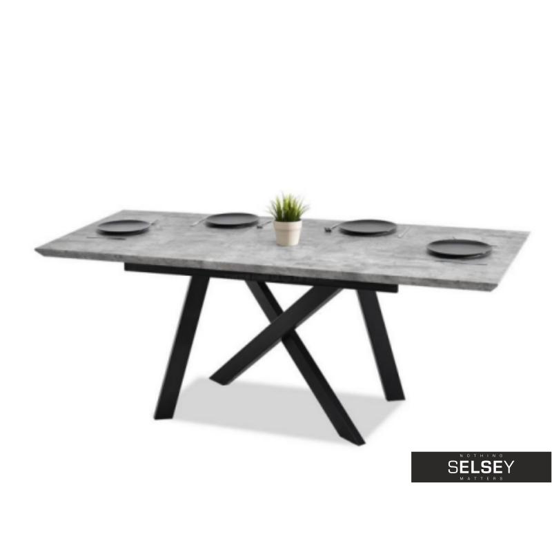 Stol Rozkladany Timor 160 200 X90 Cm Beton Czarny Industrialny Dinning Table Furniture Decor