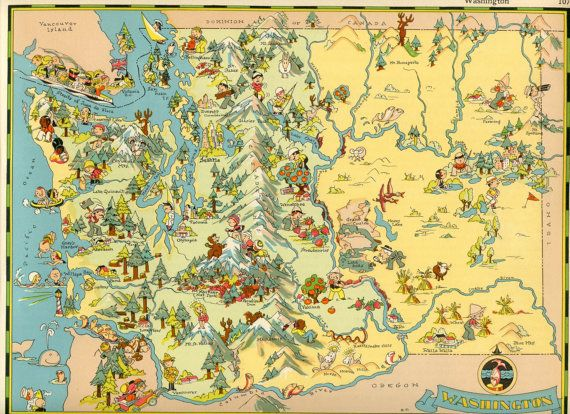 Washington State Map Seattle.Washington Map 1930s Vintage Original Picture Map Of Washington