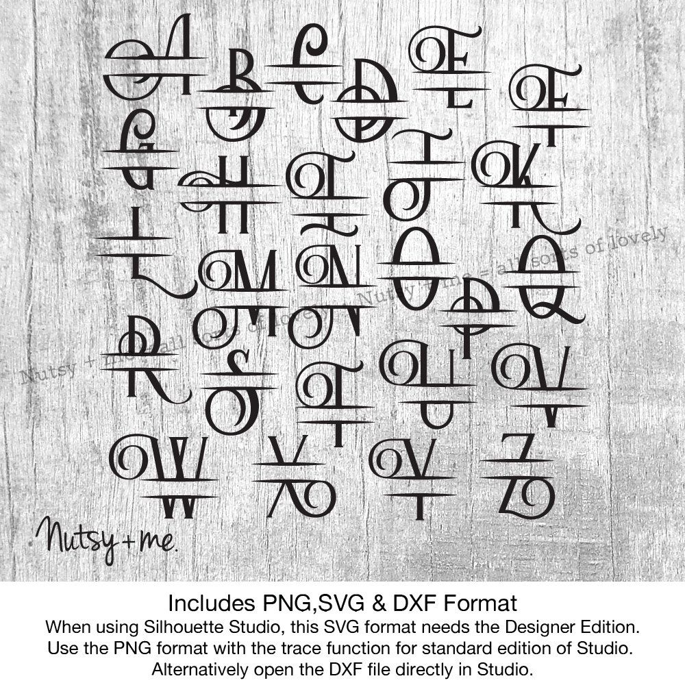 Monogram Svg Font Split Alphabet Cut Files Svg Files