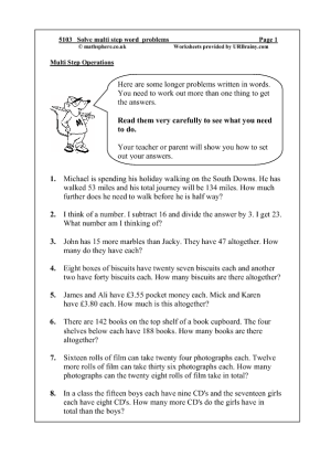 Solve Multi Step Word Problems Challenges And Investigations Maths Worksheets For Year 5 Age 9 10 Multi Step Word Problems Word Problems Math Word Problems