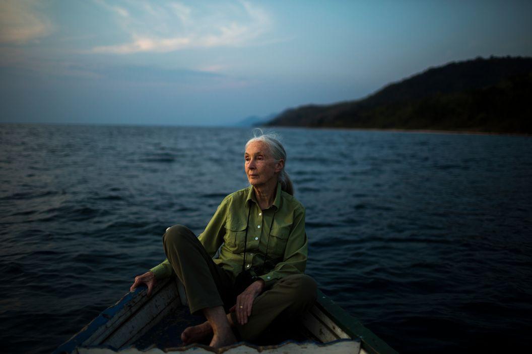 Michael Christopher Brown. TANZANIA. Jane Goodall on Lake Tanganyika, offshore from Gombe Stream National Park. 2015