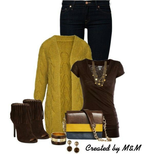 Brown, mustard and navy with gold accessories