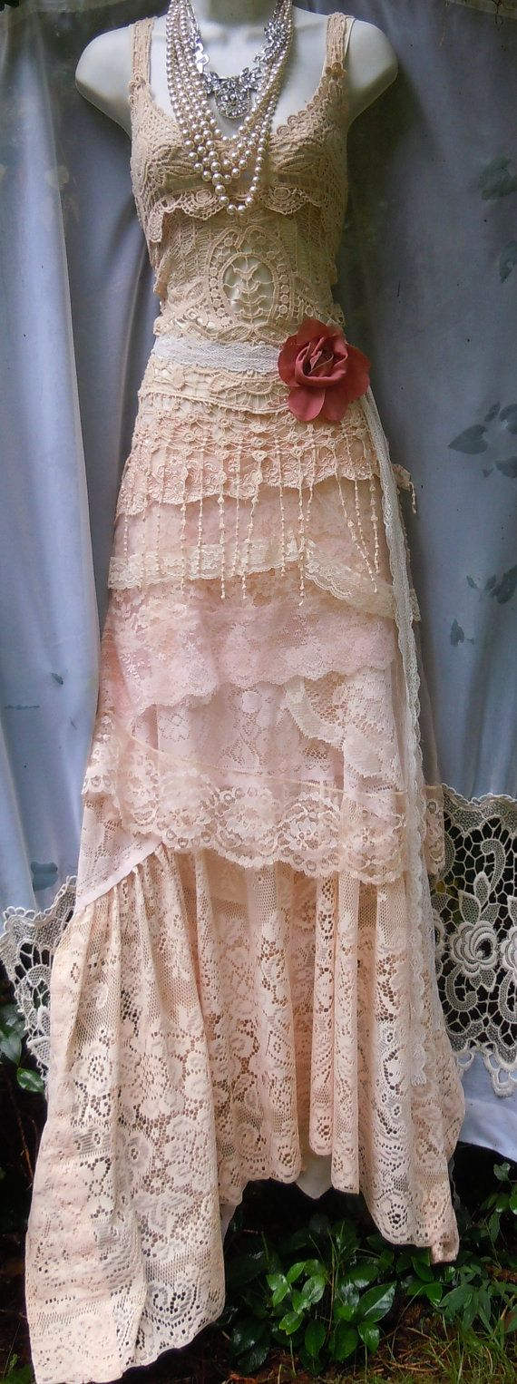 Photo of ON SALE Cream wedding dress boho  mermaid crochet lace vintage bride outdoor  romantic small by vintage opulence on Etsy