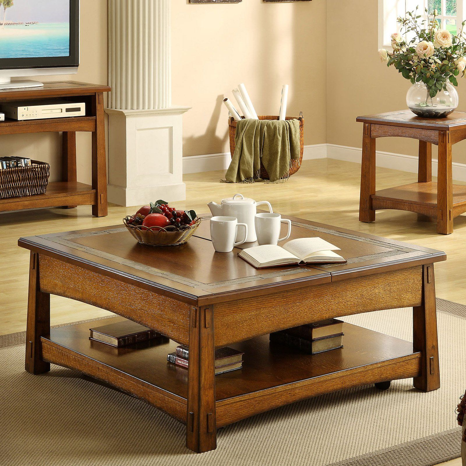 Have To Have It Riverside Craftsman Home Square Lift Top Cocktail Table Americana Oak Living Room Coffee Table Coffee Table Living Room Furniture Tables