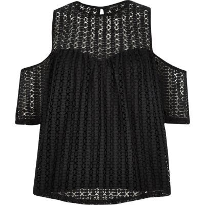 b3b409d87bc1 I'm shopping Black crochet cold shoulder top in the River Island iPhone app.