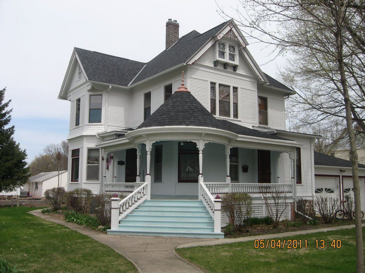 Beautiful White Eastlake Queen Anne Victorian Style House