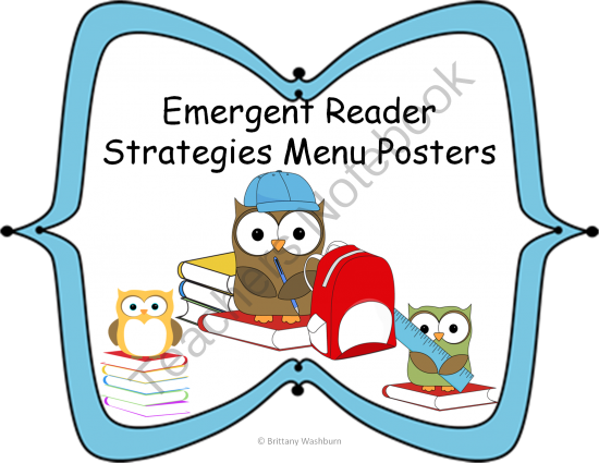 Emergent Reader Strategies Posters from Washburn's Room on