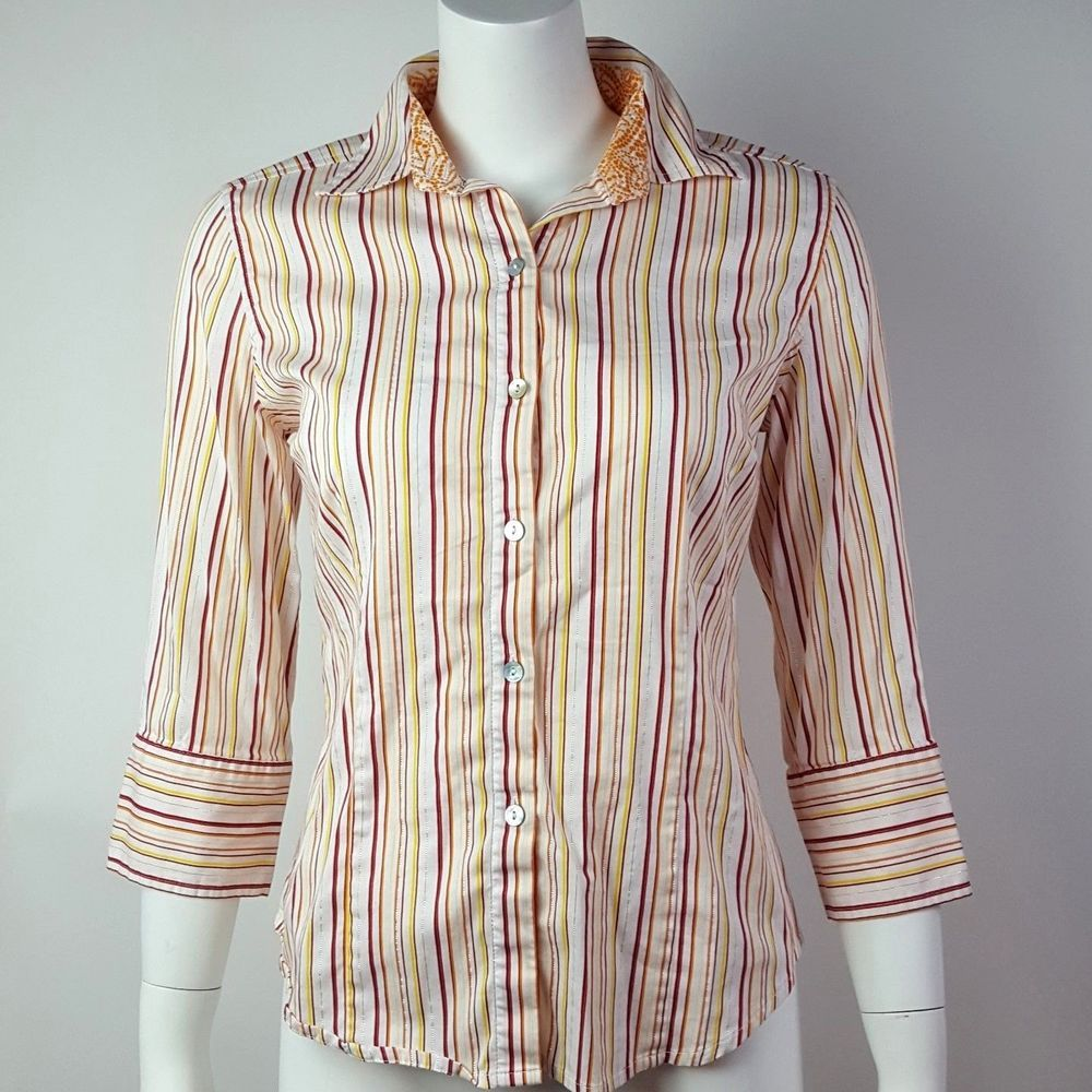 51038d91 CHICOS Red Orange Yellow Striped Button Down Long Sleeve Shirt Womens Size  0 | Clothing, Shoes & Accessories, Women's Clothing, Tops & Blouses | eBay!