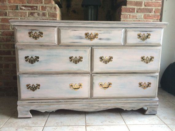 Beautiful Shabby chic dresser that is slightly distressed with brass