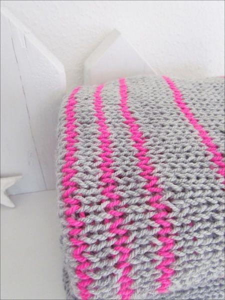 Plaid Wolldecke Pink Stripes Von Liebevoll Handgemacht Auf
