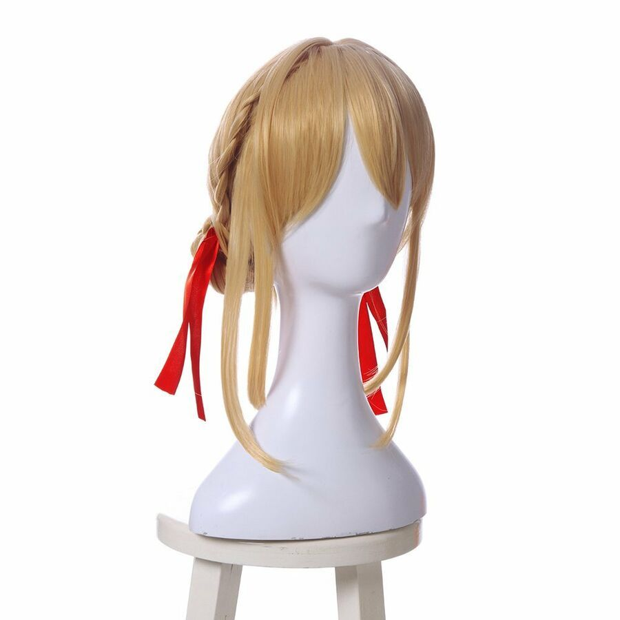Photo of Violet Evergarden Cosplay Wig Golden Blonde Hair Bun Styled Anime Hair   Ribbon …
